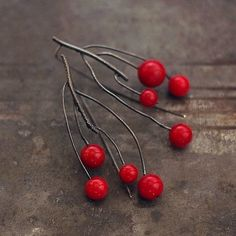 earrings made of oxidized sterling silver (925/999) and red coral, signed D I M E N SI O N S : total length: 6 cm or 2.3  coral (diameter ) : max. 1 cm