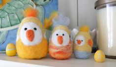 Three Easter chicks Wool felted cute little by LynnyBeeDesigns