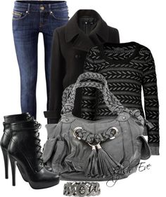 """Black and Blue Outfit !"" by stylisheve ❤ liked on Polyvore"
