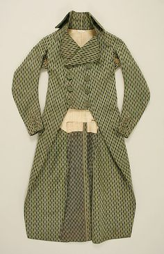 Coat  Date: 1790s Culture: French Medium: silk Dimensions: Length at CB: 44 1/2 in. (113 cm) Credit Line: Purchase, NAMSB Foundation Inc. Gift, 1999 Accession Number: 1999.105.2
