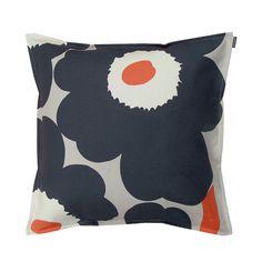 Refresh the style of your bed or sofa with the Marimekko Unikko Dark Grey Throw Pillow. Maija Isola's popular 1963 pattern, Unikko, is modernized in a dark grey, light grey and cor. Marimekko Bedding, Pillow Shams, Duvet, Modern Throw Pillows, Make Your Bed, Cotton Linen, Dark Grey, Plush, Pillow Talk
