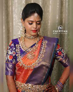 The bride 💛 Bride Photography Makeup Blouse Designs Silk, Blouse Patterns, Kanjivaram Sarees Silk, Saree Trends, Bride Portrait, Diamond Jewelry, Gold Jewelry, Jewellery, Indian Designer Wear