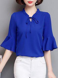 Buy Tie Collar Plain Bell Sleeve Blouse online with cheap p Bell Sleeve Blouse, Blouse Dress, Bell Sleeves, Trendy Dresses, Fashion Dresses, Fashion Blouses, Affordable Dresses, Blouse Styles, Blouse Designs