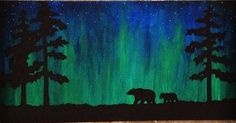 northern lights art ideas kids - Yahoo Image Search Results - Chalk Art İdeas in 2019 Canvas Painting Designs, Oil Painting On Canvas, Painting & Drawing, Canvas Art, Painting Gallery, Night Sky Painting, Galaxy Painting, Light Painting, Bear Paintings