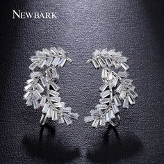 Find More Stud Earrings Information about NEWBARK Luxury Earrings For Women Firecracker Brincos Prongs Rectangle Zirconia White Gold Plated Angel Wing Jewelry,High Quality earrings jewelry,China stud earrings Suppliers, Cheap angel wing earrings from Newbark Official Store on Aliexpress.com