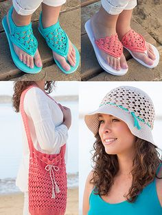 Perfect for everything from a day at the lake to shopping with girlfriends,these accessories will be your go-to this season. For the hat, crochet with 1 skein sand; for the bag, crochet with 2 skeins coral and 1 skein sand; for the flip-flops, croch...