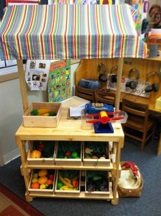 Market Stand built for a GA pre k room. Introduces children to harvesting fresh fruits and vegetables, the difference between them, managing money, weighing food, and working in the community to help provide fresh produce.