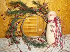 Primitive Snowman Hand Made Country Christmas Winter #NaivePrimitive