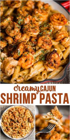 Cajun Shrimp Pasta with a spicy and rich cream sauce is a quick and easy dinner recipe with just the right amount of kick! Cajun Shrimp Pasta with a spicy and rich cream sauce is a quick and easy dinner recipe with just the right amount of kick! Shrimp Recipes For Dinner, Shrimp Recipes Easy, Fun Easy Recipes, Seafood Pasta Recipes, Yummy Dinner Recipes, Recipes With Pasta, Pasta Ideas, Dishes For Dinner, Spicy Food Recipes