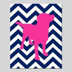 SALE - Chevron Puppy Dog - 8x10 Nursery Art Print - Navy Blue and Hot PInk