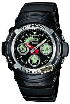 Montre Casio G-Shock noir AW590 pour homme et femme, une montre de sport avec fonction GMT, un chronomètre et une alarme.