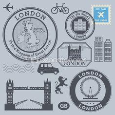Set de sellos de viaje, Londres — Ilustración de stock #61529041