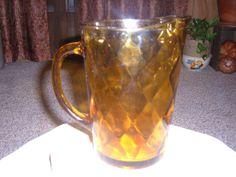 Amber Glass Water Pitcher by thecrowNcat on Etsy, $15.50