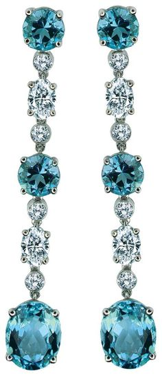 Aquamarine and Diamond Earrings by Gumuchian, via cijintl.