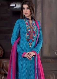 Unique  Sky Blue Cotton Embroidered Unstitched Churidar Suit Glitzy Cotton White Embroidered Unstitched Churidar Suit #salwarsuit #indian #trendy #red #bridal#bollewood #party wear #traditional#online #mangosurat#style #boutiques #shopping #fashion #modal #social #branding #sales #marketing #business #discount #deal #success #ethnic #creation #embroidery #classic #cloth #clothing