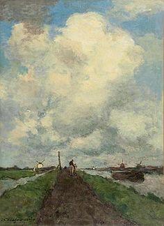 Hendrik Johannes Weissenbruch De witte wolk Olie op doek 62 x 45 cm Gesigneerd linksonder en gedateerd 1901 Te zien op #PAN2015 bij Mark Smit Kunsthandel.