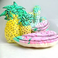 A #Tropical explosion of cushions - #Pineapple #Watermelon and #Cactus