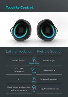 Dash Smart Headphones by Bragi Touch Controls Tables