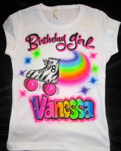Airbrushed zebra roller skate skating birthday girl personalized name Airbrush shirt toddler youth adult | glamourtoes -