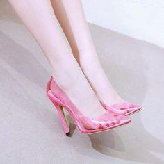 Pink PVC Transparent Pump – The Sophysticated Cute Shoes, Me Too Shoes, Womens Summer Shoes, Tips Belleza, Stiletto Pumps, Fashion Heels, Pink Shoes, Wedding Shoes, Ankle Strap
