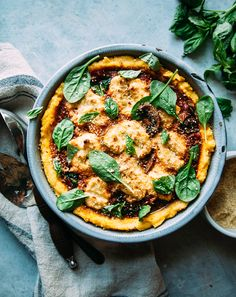 SPINACH & MUSHROOM POLENTA PIE WITH ALMOND RICOTTA » The First Mess // Plant-Based Recipes + Photography by Laura Wright