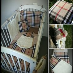 Parure de lit bébé motif tartan (sur devis)