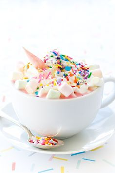 unicorn white hot chocolate