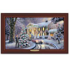 Thomas Kinkade Christmas At Elvis Presley's Graceland Home Illuminated Canvas Print Wall Decor