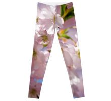 Spring Pink blossom branch leggings apparel by #PLdesign #FlowerGift #style #fashion @redbubble