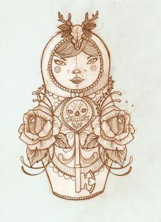 First Matryoshka doll. Liz Clements Illustration.