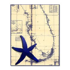 Starfish Print Vintage Nautical Map Art Print by NauticalDecorShop, $12.00