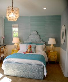 Avery would love this room.  Grasscloth, headboard.