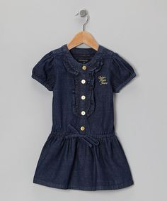 Take a look at this Dark Blue Wash Ruffle Placket Dress - Infant, Toddler & Girls on zulily today!