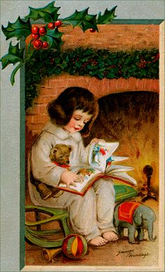 vintage card w/girl by the fireplace reading to her teddy bear