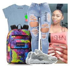 """💥"" by kodakdej ❤ liked on Polyvore featuring JanSport, NARS Cosmetics and NIKE"