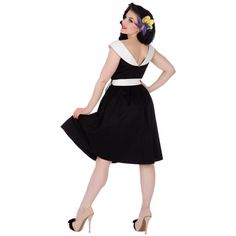 Cindy Sassy Swing Vintage Dress in Black/White Collar by Dolly and Dotty