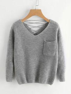 Suéter tejido doble escote V de espalda con cordón