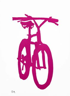 Bicycle Art  Fuchsia Mountain Bike by bicyclepaintings on Etsy, $30.00