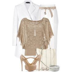 Dusty Sand Lace Top, created by brendariley-1 on Polyvore