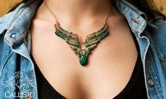 Ethnic Crysocolla macrame necklace ~ ethnic , tribal , boho , bohemian , hippie ~ beige, blue, orange, brown, green waxed threads ~ callisto