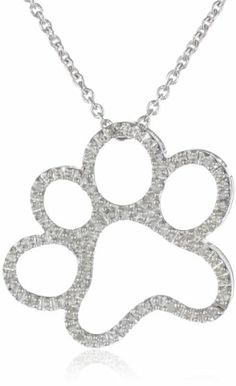 "DOG PAW DIAMOND NECKLACE: Silver and Diamond Dog Paw Pendant Necklace (1/20 cttw, I-J Color, I3 Clarity), 18"": Jewelry"