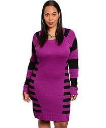 Purple & Black Sweater Dress (Plus Size)