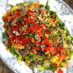 'Confetti' salad - Herb and vegetable runner bean flowers. Salad made with runner beans, sweetcorn, spinach, baby gem lettuce, spring onion, carrots and tomatoes with a herb, orange & lemon dressing   Raw vegan blonde