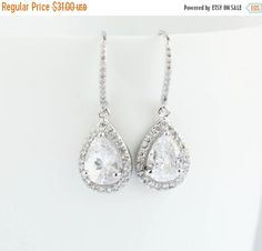 Bridal Earrings White Gold EarringsWhite  Gold by PROJECTDAHLIA