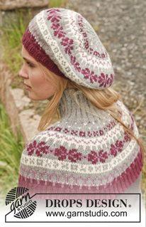 """Settet består av: strikket DROPS lue og hals i """"Lima"""" med nordisk mønster ~ DROPS Design"""