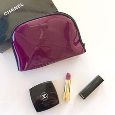 fe59cd55d168b6 Chanel CC Makeup Bag Burgundy Cosmetic Organiser Purple Case Vip Gift