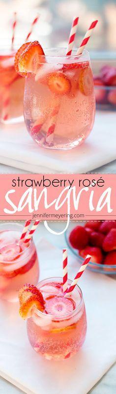 Refreshing Summer Signature Coktail Idea - Strawberry Rosé Sangria {JenniferMeyering.com}