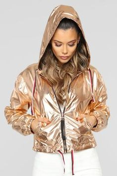 Here To Be Noticed Windbreaker Jacket - Rose Gold Holographic Jacket, Holographic Fashion, Windbreaker Outfit, Latest Fashion For Women, Womens Fashion, Gold Fashion, Fashion Jewelry, Athleisure Outfits, Rain Wear