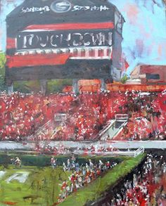 Score between the hedges by Nancy Everett Oil ~ 30 x 24