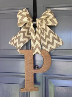 Sophisticated Monogram Initial Jute Wrapped Letter P Burlap Chevron Bow Door Decor on Etsy, $20.00